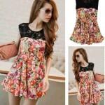 Blouse Korea sablon bunga kombi lace Cantik S118 Spandex allsize fit L - 69rb
