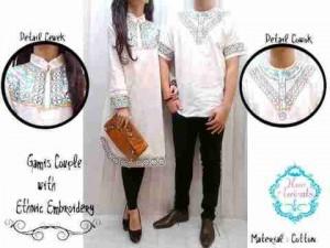 Baju Couple Muslim Putih Bordir - Gamis Couple Muslim