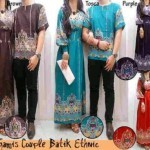 Baju Couple Muslim Batik CP08 allsize fitL Katun Rayon - 190rb
