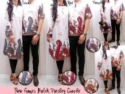 Baju Couple Muslim Batik Paisley Busana Gamis Modern Murah