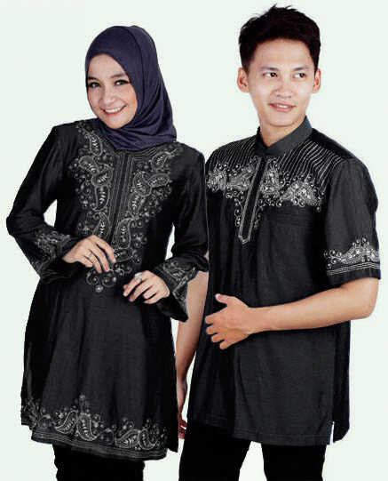 Baju couple muslim denim cp05 jual gamis couple modern Baju couple gamis denim