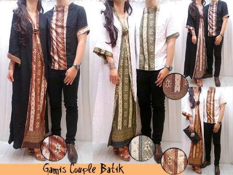 Gamis Couple Pesta Batik Maxi Dress Muslim Etnik Katun