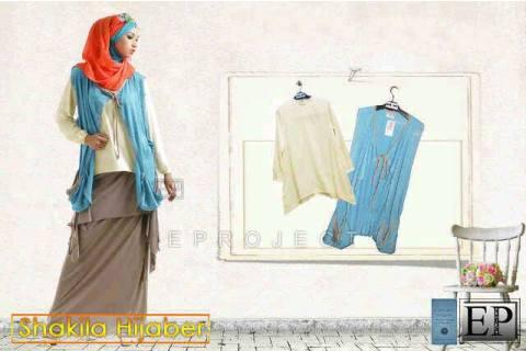 Baju muslim Shakila Hijaber 6in1 (long tee+rok susun+vest+ninja+pashmina+bros) Spndx Allsize fit L - 139rb