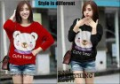 Blouse Casual Print Cute Bear Spandex