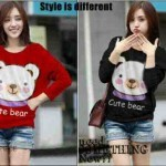 Blouse Casual Print Cute Bear Spandex allsizeL- 59rb