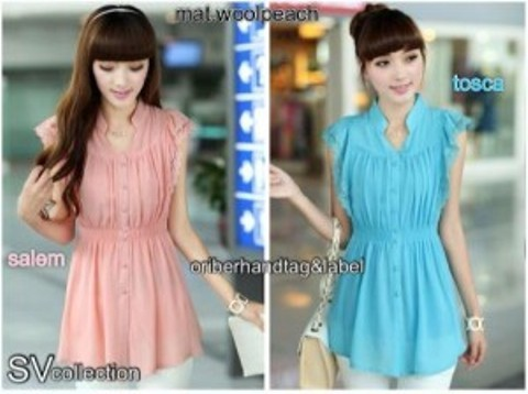 Blouse Korea Cantik S111 Wool Peach Mix Renda allsize fit L (salem & tosca) - 69rb