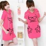 Cute Blouse Pink Hoodie S106 Babyteri Allsize fit L - 73rb