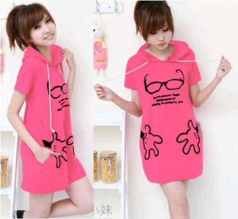 Cute Blouse Pink Hoodie S106 Babyteri Allsize fit L - 73rb