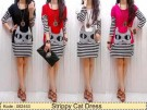 Dress Casual Strippy Cat Kaos Salur kombi Spandex