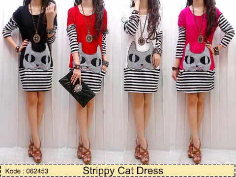 Dress Casual Strippy Cat Kaos Salur kombi Spandex allsize fit to L - 94rb