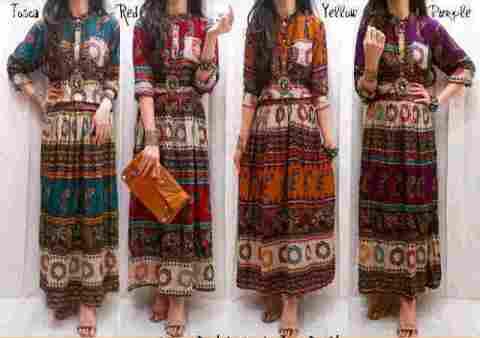 Dress Maxi Etnik Batik Katun Rayon+Belt - 108rb