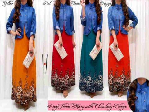 Drop Floral Maxi Dress Muslim S140 allsixe fit L - 129rb