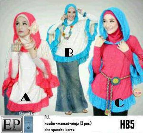 Hijabers 3in1 H85 (hoodie+manset+ninja (3 pcs) spandex allsize fit L - 119rb