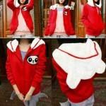 Jaket Cewek Panda Merah Putih Babytery allsize fit L - 85rb