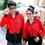 Jaket Couple Pocket Cat Merah-Hitam Allsixe fit L Babytery - 119rb