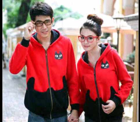 Jaket Couple Pocket Cat Merah-Hitam Allsixe fit L Babytery - 119rb