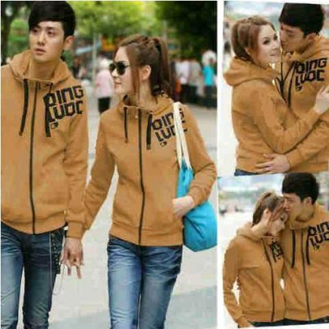 Jaket Couple Qing Brown Hoodie Babytery - 119rb