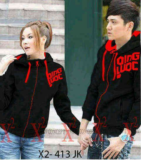 Jaket Couple Qing Red Black Hodie Babytery - 119rb