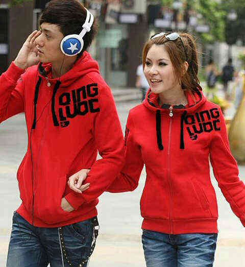 Jaket Couple Qing Red Hoodie Babytery - 119rb