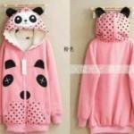 Jaket Panda Polka Pink Hoodie Babytery fit M-L - 85rb