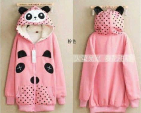 Jaket Panda Polka Pink Hoodie Babytery , jaket cewek