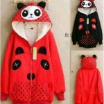 Jaket Panda Polka Red Black Hoodie Babytery fit M-L - 85rb