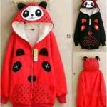 Jaket Panda Polka Red Black Hoodie Babytery fit M-L - 85rb