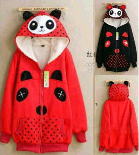 Jaket Panda Merah Hitam Hoodie Baby terry