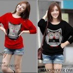 Kaos Casual Cute Owl S145 Combed allsizeL- 63rb (480px)