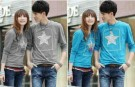 Kaos Couple Simple Star Long Sleeve Spandex