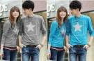 Kaos Couple Simple Star Long Sleeve Spandex