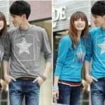 Kaos Couple Star Long Sleeve Spandex - 98rb