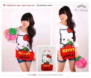 Kaos Hello Kitty Apple Long Sleeve Baju Kaos Hello Kitty