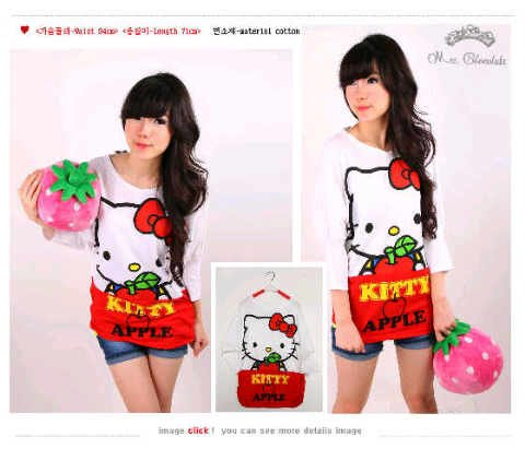 Kaos Hello Kitty Apple Long Sleeve - 64rb