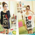 Kaos Kasual Batwing Love My Self AN.785 Combed (black, white) Fit.XL (nn) - 64rb