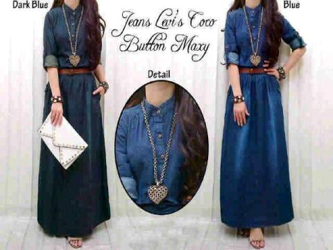 maxi dress remaja casual denim