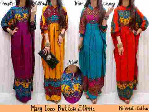 Maxi Coco Dress Muslim Etnik Button fit to XXL - 129rb