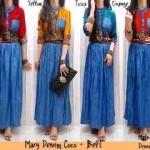 Maxi Dress Etnik Denim+Belt allsize fit L - 109rb