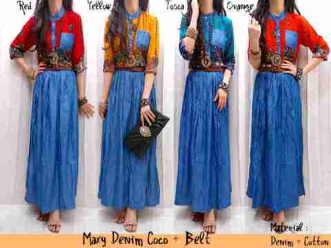 Maxi Dress Etnik Denim+Belt allsize fit L - 109rb