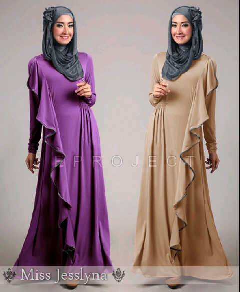 Maxi Dress S128 Ruffles + Pashmina Miss Jesslyna allsize fit L besar - 134rb