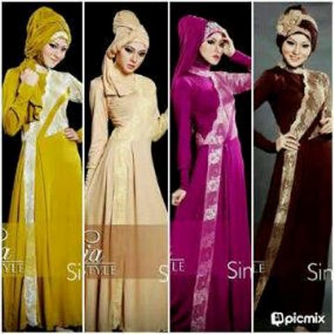Maxi Dress Pesta Brokat Pashmina Baju Gamis Muslim