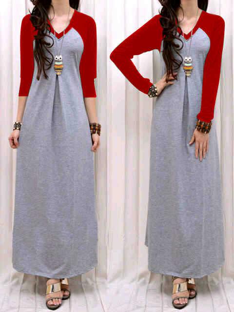 Maxi Dress V Neck Simpel Baju Hijaber Wanita Remaja
