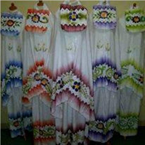 Mukena Lukis Saput2 Santung (lukis handmade) - 119rb