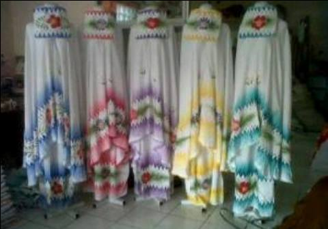 Mukena Lukis Saput3 Santung (lukis handmade) - 119rb