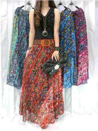 Rok Etnik Motif Songket Tribal Shiffon 2in1+ belt Allsize fit L - 84rb