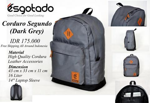 Tas Kuliah+Laptop 2in1 Dark Grey Corduray - 175rb (ESG Corduro Segundo)