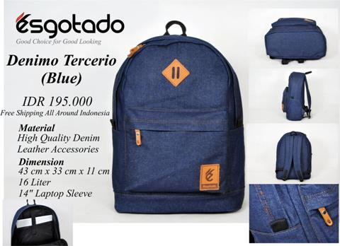 Tas Kuliah Blue Denim + Laptop Sleeve - 195rb (DENIMO TERCERIO)