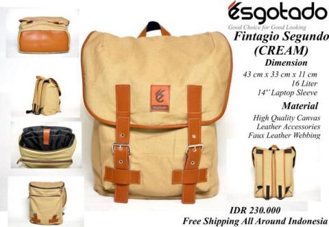 Tas Vintage Kanvas combi Leather Cream - 230rb (ESG FINTAGIO SEGUNDO Specs)