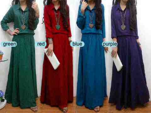 Maxi Dress Casual Formal Hillary Belt Model Gamis Muslim