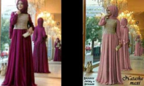 maxi dress pesta+pashmina - baju muslim brokat, gamis couple jersey